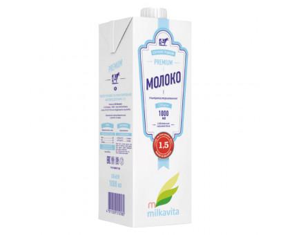 "Молоко ультрапастер  ТБАС м.д.ж.1,5% ТМ ""Милкавита"" 1 л"
