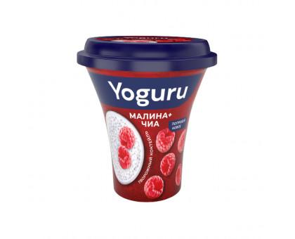 Коктейль творожный паст. Yoguru 2,9% малина-чиа стакан 230 г