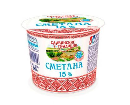 """Сметана """"Славянские традиции"""" 15,0% стакан 380 г Sacmi"""