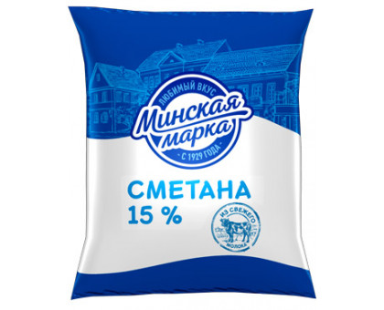 """Сметана """"Минская марка"""" 15,0% пленка 400 г"""